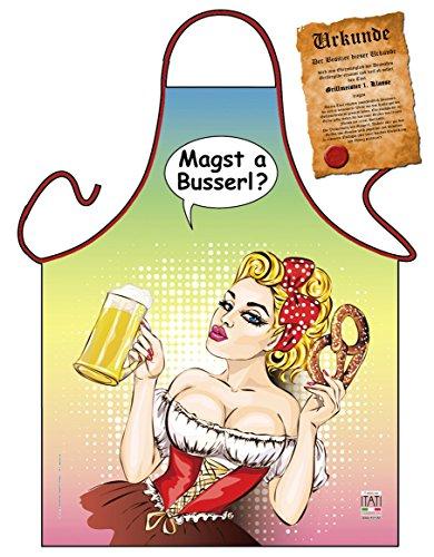Kochschürze auf bayerisch, Grillschürze, Backschürze, Servierschürze mit lustiger Grillurkunde - Magst a Busserl?