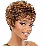 SHKY Fashion Hair Short Curly Wig Black Brown Mix, perruque naturelle et élégante résistant à la chaleur pour les femmes Lady