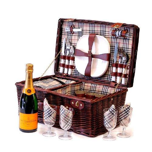 Bromley 4 Person Wicker Picnic Hamper Cooler Basket with 75cl Veuve Clicquot Champagne and accessories - Gift ideas for Mum, Valentines, Mothers Day, Birthday, Wedding, Anniversary, Business, Corporate and Congratulations