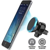 Soporte Movil Coche Magnético para Rejilla de Ventilación de Coche -Blue. MarvTek Compatible con Móvil y Smartphones iPhone 6s / 6 Plus / 5 / 5S / SE, Samsung Galaxy S6 / S6 Edge / S7 / S7 Edge / Note 5 4 3, Huawei, BQ, Sony y GPS.