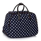 LeahWard Damen-Reisetasche für Mädchen Handgepäck Reise Koffer Urlaub Schultaschen 005 (L DUNKELBLAU PUNKTE)