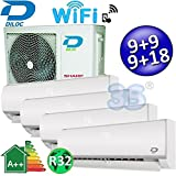 Climatizzatore inverter quadri split FROZEN R32 9000+9000+9000+18000 Btu DILOC classe A++/A+ funzione smart WIFI