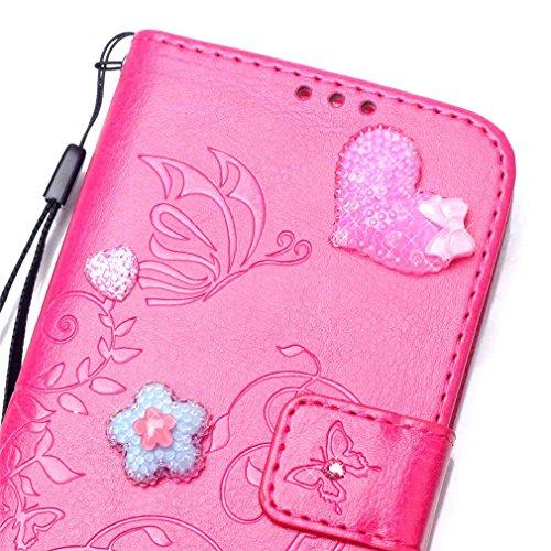 """Mk Shop Limited [Coque iPhone 6S Plus] Fine Folio Wallet/Portefeuille en Bonne Qualité PU Cuir Housse pour iPhone 6S Plus Coque antichoc Papillon Fleur Style"""" de Gaufrage Motif avec Diamant Briller Bo Multi-couleur 1"""