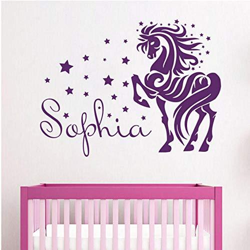 Sterne Baby Zimmer Wandtattoos Personalisierte Name Pferd Vinyl Wandaufkleber Mädchen Kinderzimmer Dekor Aufkleber DIY Dekoration 74x56 cm - Mädchen Zimmer Dekor Pferd Für