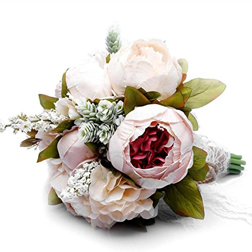 Vintage fleurs artificielles Faux pivoine fleurs bouquet Europe Style mariée demoiselles d'honneur Bouquet de Noël cadeaux de mariage cadeau