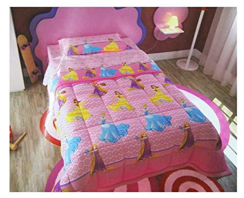 Euronovità Srl Bettdecke Steppdecke Einzelbett Mädchen Disney Princess 180x 260cm Tagesdecke