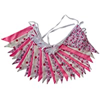 10m Pink Floral Mix - double sided fabric bunting