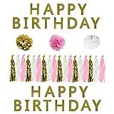 Set 6 Pezzi Accessori Decorazioni Festa Compleanno Bianco, Rosa e Oro da Belle Vous - Pon Pon 15cm, Stri-scione con Nappe e Striscioni Glitterati Buon Compleanno - Grande Kit Decorazioni