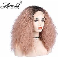 Arimika Pastel rosa Ombre marrón oscuro raíces encaje frontal sintético peluca sin pegamento ondulado resistente al