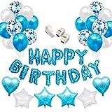 Globos de látex rellenos de confeti SPECOOL Azul Feliz cumpleaños Letras de globos Papel de aluminio Flamingo Corazón Estrella con cintas para la decoración de cumpleaños Artículos para fiestas (Azul)