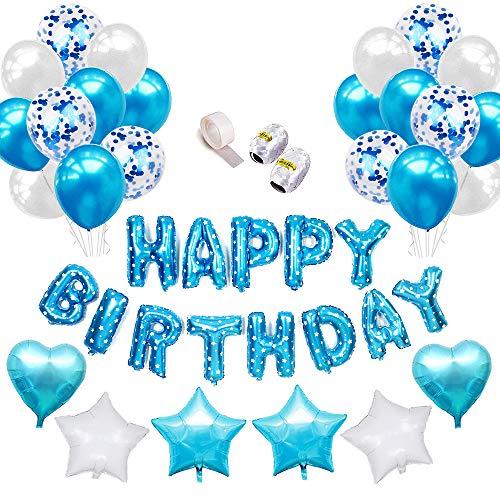 Specool palloncini di lattice riempiti di coriandoli blue happy birthday palloncino lettere banner foil heart star con nastri per decorazioni di compleanno per feste (blu)