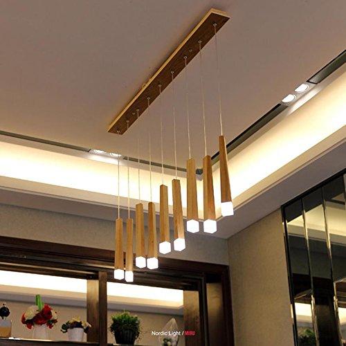 Pendelleuchten Nordic Massivholz Kronleuchter Restaurant Café Bar Massivholz Match Stick Kronleuchter LED Decke Pendelleuchte (Farbe : Warmweiß-9 Lamps) - Bronze-neun-licht Kronleuchter