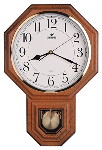 JUSTIME Traditionelle Schulhaus leicht zu lesen Pendel Wanduhr Chimes jede Stunde mit Westminster Melodie Made in Taiwan - PP0258-JSW Natural Wood