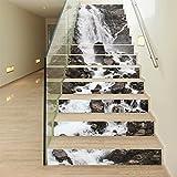 LIU-3D Kreativ Wasserfalllandschaft Treppenhaus Aufkleber Abnehmbar Wasserdicht Treppe Tapeten 100CMx18CMx13pieces (39.3