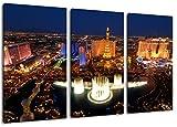 Las Vegas Skyline bei NachtFormat: Dreiteiler Gesamt 120x80, Bild auf Leinwand bespannt, riesige XXL Bilder komplett und fertig gerahmt mit Keilrahmen, Kunstdruck auf Wand Bild mit Rahmen, günstiger als Gemälde oder Bild, kein Poster oder Plakat