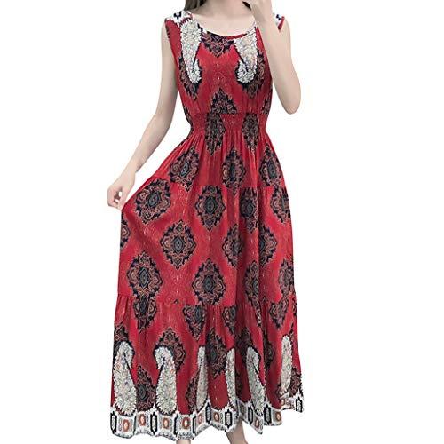 Yazidan Damen Boho Strandkleid Übergröße Sommerkleid,Rock Mädchen Tief V-Ausschnitt Ärmellos Kleider Frauen Blumen Drucken Kleid Minikleid Kleidung Abendkleider