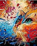 Hxfhxf Gatto della cucciolata Dipinto dai Numeri Dipinto Digitale a Olio Animale Fai-da-Te con i Kit numerici Quadro su tela-40x50cm