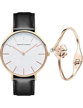 XLORDX Classic Damen Armbanduhr Analog Quarz Schwarz Leder Armband, Weiß Zifferblatt mit Elegant Rosegold Armband