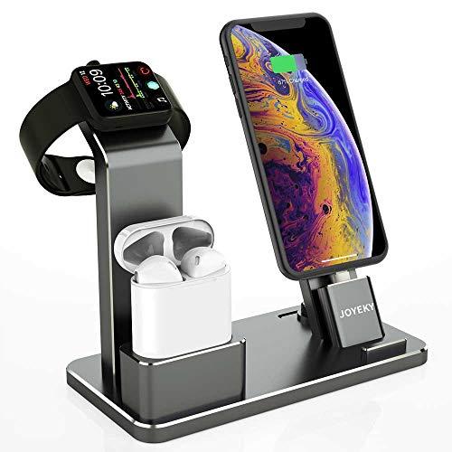 JOYEKY Apple Watch Ladestation 4 in 1 Premium-Aluminium iPhone Ladestation kompatibel mit AirPods/Watch Series 4/3/2/1/ iPhone X Max 8 8 Plus 7 7 Plus 6 5s 4/ iPad inkl. 2 Ladekabel (Grau) Ladestation