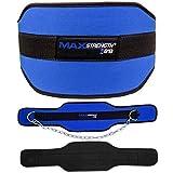 MAXSTRENGTH ® Beuge-Gürtel mit Kette Dip-Gürtel Strapazierfähig Neopren Gepolstert Gewichtheben Bodybuilding Fitnesstraining 80kg - Blau