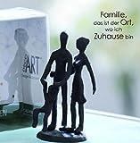 Casablanca Mini Design Skulptur Eltern mit Kind Gußeisen 11 cm Figur Familie