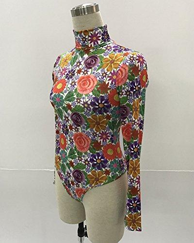 Body Collo Alto Donna Maniche Lunghe Basic Top Stampa Bodywear Tutine Bodysuit 105