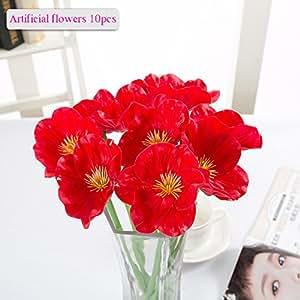 Fiori Artificiali, Meiwo 10 Pcs Real Touch Latex Poppies artificiali Fiori in vasi per i bouquet di nozze / Decorazione Casa / partito / Graves Arrangiamento(Rosso)