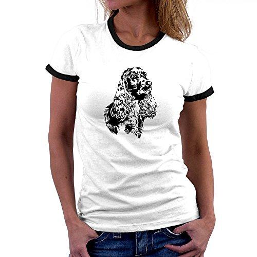 Teeburon Cocker Spaniel FACE SPECIAL GRAPHIC Ringer Damen T-Shirt (Ringer Hund Damen)