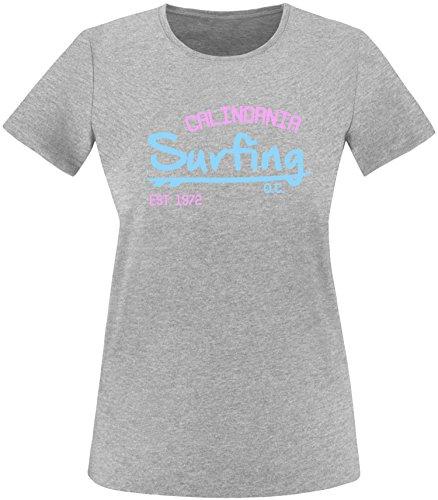 EZYshirt Surfing California Damen Rundhals T-Shirt Grau/Hellbl/Rosa