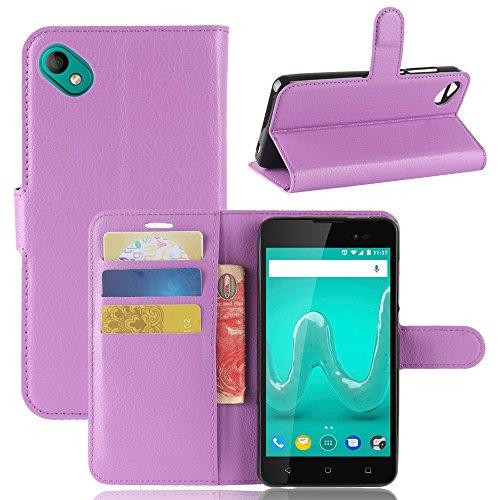 Handyhülle für Wiko Sunny 2 Plus 95street Schutzhülle Book Case für Wiko Sunny 2 Plus, Hülle Klapphülle Tasche im Retro Wallet Design mit Praktischer Aufstellfunktion - Etui Lila