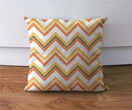 Orange und Gelb Chevron Kissenbezug Dekorative Kissenhülle Accent Couch werfen Kissen Fall Leinen Lendenkissen Fall Home decor18* 18 (Chevron-kissen Orange Werfen)