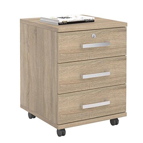 CARO-Möbel Rollcontainer Bürocontainer Büroschrank Vancouver, in Sonoma Eiche, abschließbar mit 3 Schubladen, 44 x 58 x 45 cm
