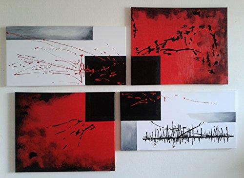 Fratta - Composición de cuadros modernos con marco pintados a mano sobre lienzo (117x 83,5cm). Diseño abstracto geométrico de arte moderno de color negro, rojo, gris plateado y blanco 100% hechos a mano y listos para colgar.