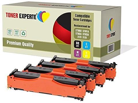 Pack 4 TONER EXPERTE® Compatibles CF380X CF381A CF382A CF383A 312X/312A Cartouches de Toner pour HP Colour LaserJet Pro MFP M476DN, M476DW, M476NW