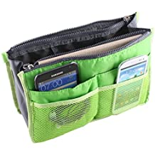 SODIAL (R) Green Travel Organizer Borsa Pouch Bag in Bag Organizer Insert Pocket Cosmetic