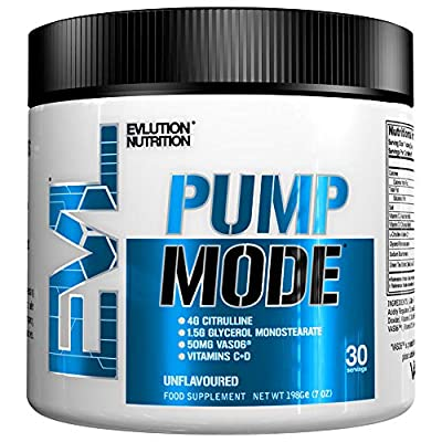 Evlution Nutrition Pump Mode Nitric Oxide Booster to Support Intense Pumps, Performance and Vascularity, 30 Serving, Unflavored by Evlution