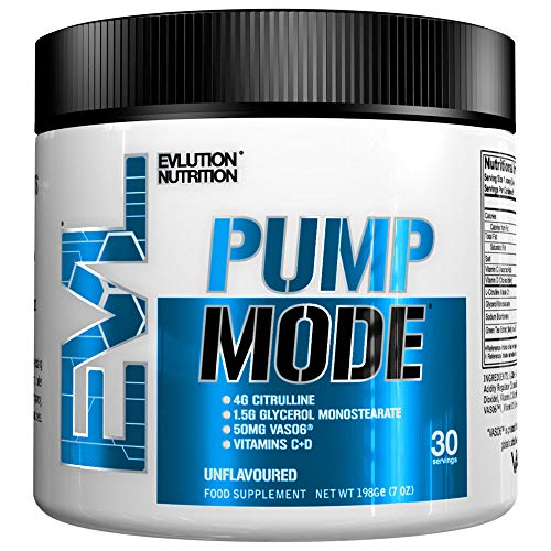 Evlution Nutrition Pump Mode Nitric Oxide Booster to Support Intense Pumps Performance and Vascularity - 30 Servings (Unflavoured)