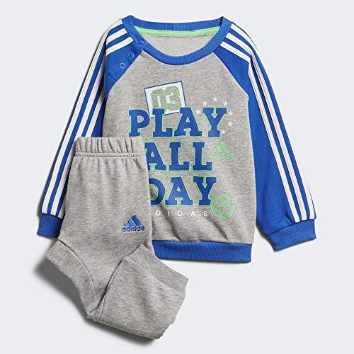 adidas Baby Graphic Jogger French Terry Trainingsanzug, Medium Grey Heather/Blue/White/Energy Green, 80 - Medium Terry