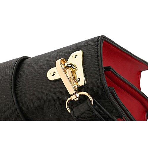 Spalla Di Cuoio Diagonale Piccolo Mini Donna Quadrata Bag,White Black