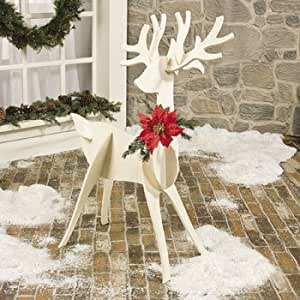 Large wooden slotted reindeer freestanding outdoor for Amazon christmas lawn decorations