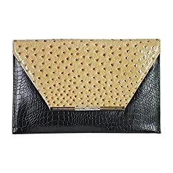 2Chique Boutique Womens Ostrich Skin Envelope Clutch