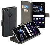 yayago Book Style Tasche Case für Huawei P10 Lite / P10 Lite Dual Hülle Klapphülle mit Standfunktion Schwarz