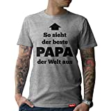 #PAPA: Original HARIZ® Collection T-Shirt // 36 Designs wählbar // Grau, S-XXL // Inkl. Urkunde, Ideales Geschenk zum Vatertag Weihnachten oder Geburtstag #Papa05: Bester Papa der Welt L