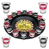 Wellgro® Trinkspiel Roulette - mit 1 Roulette-Rad, 16 Schnapsgläser und 2 Spielkugeln - Party-Spaß, bei dem der Zufall entscheidet