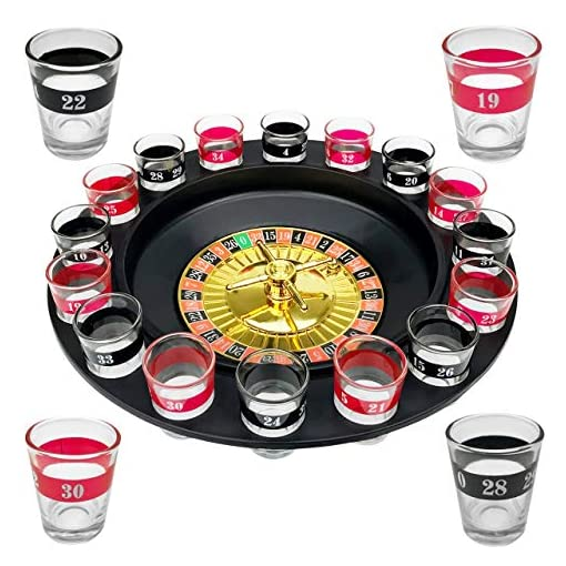 Wellgro-Trinkspiel-Roulette-mit-1-Roulette-Rad-16-Schnapsglser-und-2-Spielkugeln-Party-Spa-bei-dem-der-Zufall-entscheidet WELLGRO® Trinkspiel Roulette – mit 1 Roulette-Rad, 16 Schnapsgläser und 2 Spielkugeln – Party-Spaß, bei dem der Zufall entscheidet -