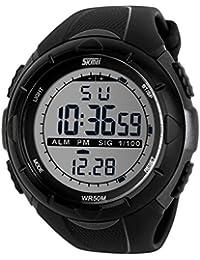 SunJas 5 ATM étanche Sport Montre Bracelet Fashion LCD Digital Chronomètre Chronographe Date Alarme de Sport en caoutchouc montre bracelet Gris Titane