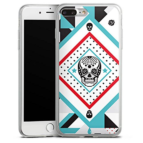 Apple iPhone 8 Slim Case Silikon Hülle Schutzhülle Totenschädel Muster Crazy Maya Silikon Slim Case transparent