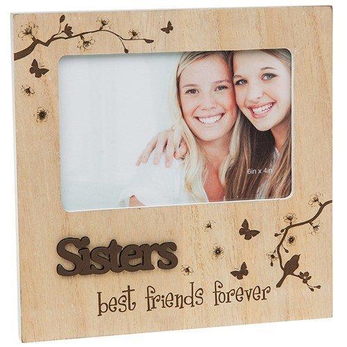 """Holz-Bilderrahmen für Schwestern (Schriftzug nicht in deutscher Sprache) """"Sisters Best Friends"""" (Schwestern Bilderrahmen)"""
