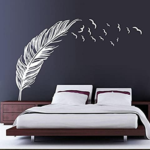Large Birds Feather Window Wall Sticker - Indexp Personalized Bedroom Home Art Decoration Decals (White)