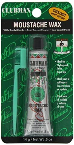 Clubman Pinaud Moustache Wax with Free Brush/Comb Applicator, Chestnut, 0.5 Ounce by Clubman Pinaud